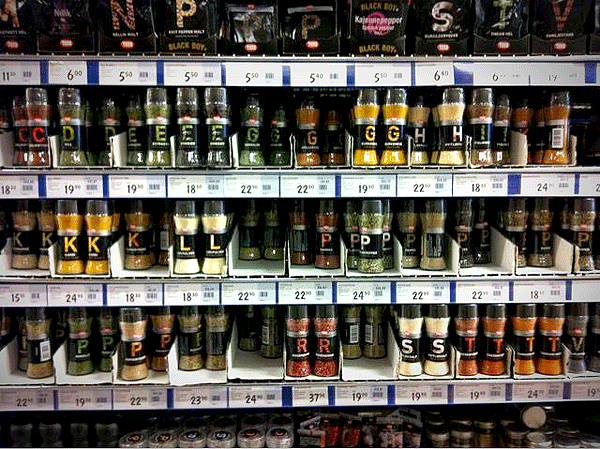 shelves of seasoning