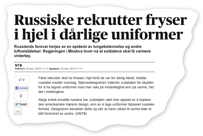 Facsimile from Aftenposten