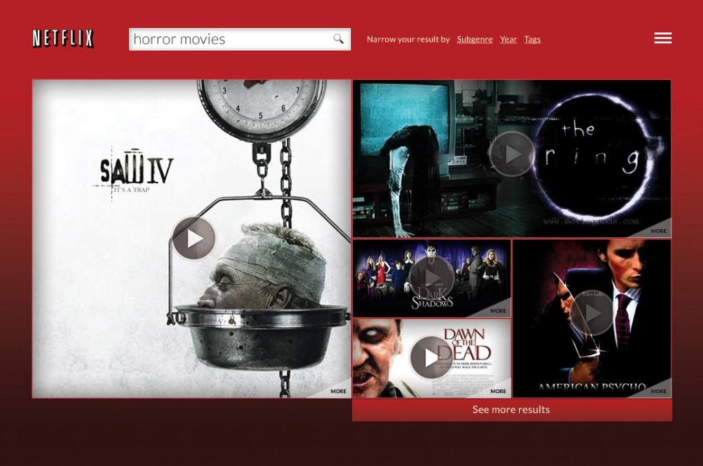 Netflix.com - redesigned search result for the query 'horrow movies'